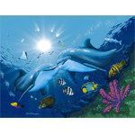 Kissing Dolphins Limited Edition Giclee