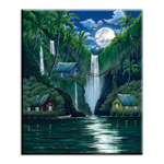 Moon Over the Falls - Single Ceramic Tile