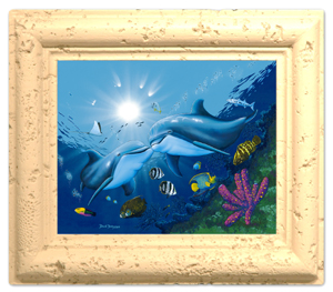 "Coral Framed 8.5""x11"" Ceramic Tile"