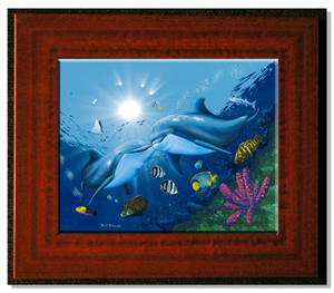 "Mahogany Framed 18"" x 24"" Ceramic Tile"
